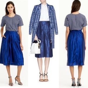 J. Crew Metallic Blue Sparkle Midi Voile Skirt NEW